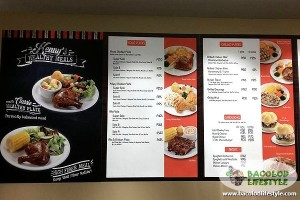Kenny Rogers Roasters - SM City Bacolod - menu