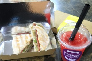 Sicilian Vegetable sandwich with ham and Watermelon berry shake