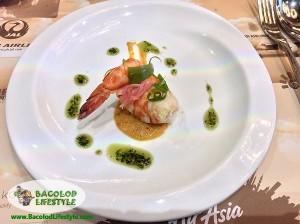 Pickled Shrimp Maki served with Romesco and Pesto Sauce