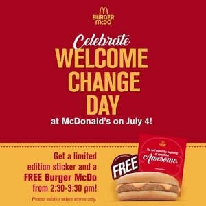 mcdo welcome change day