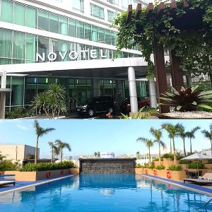 novotel entrance and swimming pool