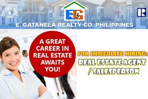 E. GATANELA REALTY CO. is looking for REAL ESTATE AGENT/SALESPERSON