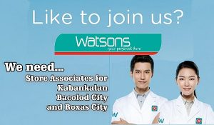 watsons now hiring