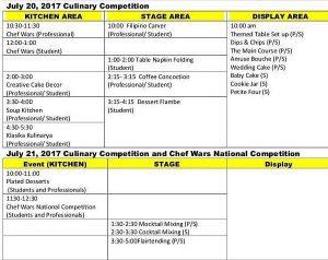 Sabor Bisaya 2017 competition schedule