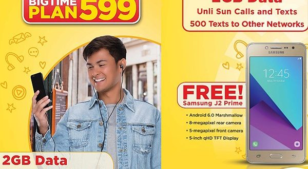 Sun launches Big Time Plan 599 with FREE Samsung J2 Prime LTE smartphone