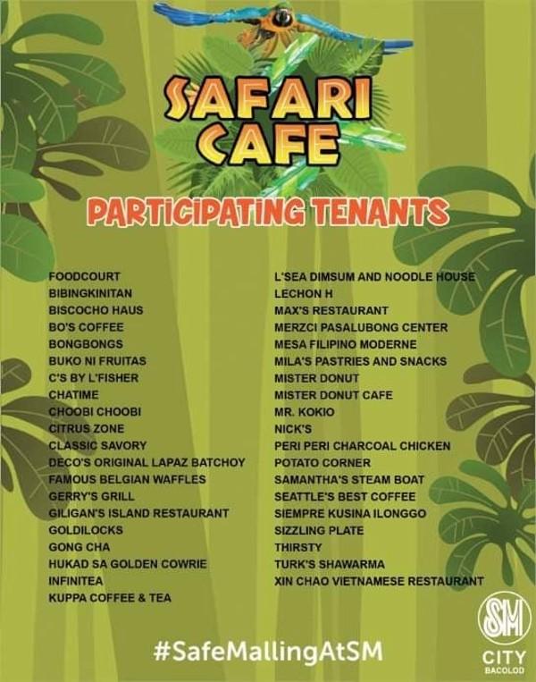 SM City Bacolod Safari Cafe Tenants